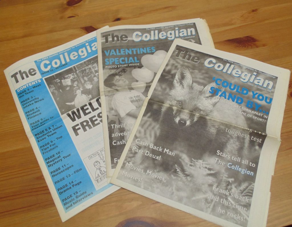 The Collegian Newspaper: published by University College Chester, now University of Chester